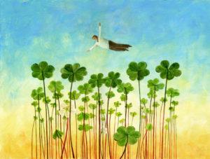 Glück: Flug über ein Kleefeld
