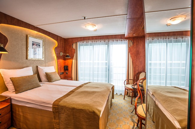 Innenansicht einer Kabine im Flusskreuzfahrtschiff «Thurgau Rhône»