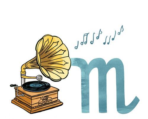 M wie Musik: Illustration eines Grammophons, zusammen mit dem Buchstaben M.