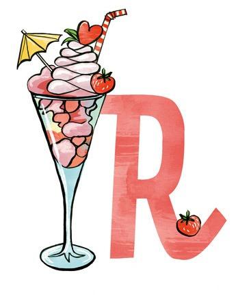 R wie Restaurant: Illustration eines Eisbechers mit dem Buchstaben R.