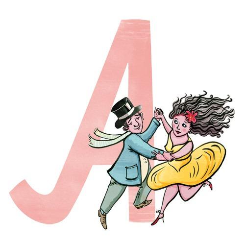 A wie Ausgang: Illustration eines Tanzpaares