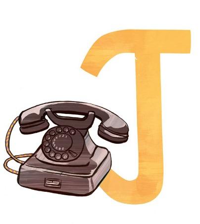 T wie Telefon: Illustration eines alten Telefons und des Buchstaben T.