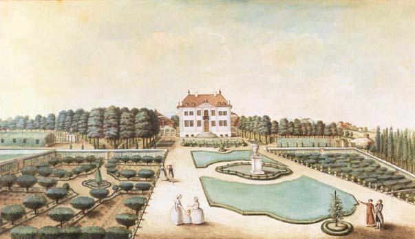 Haus und Park des Landguts Varembé in Le Petit-Saconnex, heute Genf. Darstellung aus dem späten 18. Jhdt.