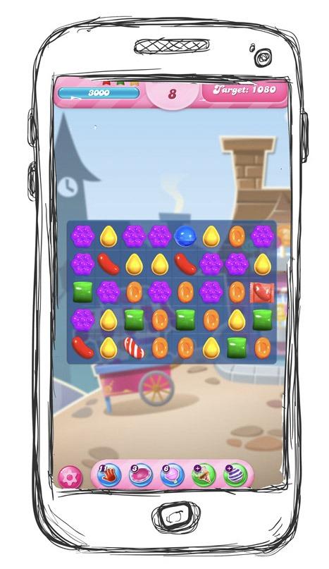 Skizze eines Handys mit Screenshot des Online-Games Candy Crush Saga.