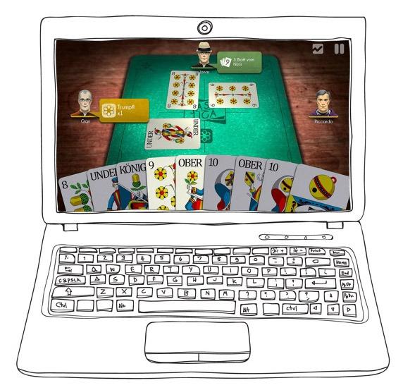 Skizze eines Notebooks mit einem Screenshot eines Online-Jass-Spiels.