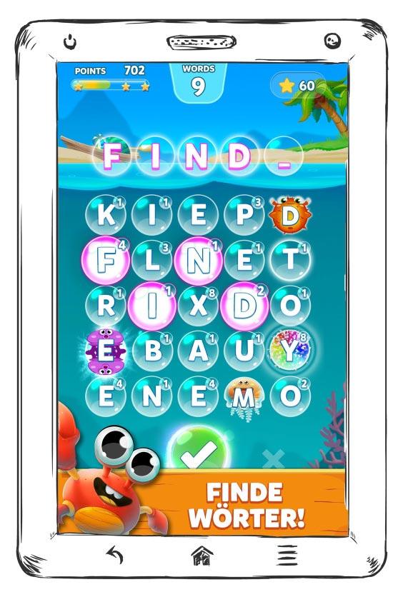 Screenshot eines Wortspiels auf einem skizzierten Tablet.