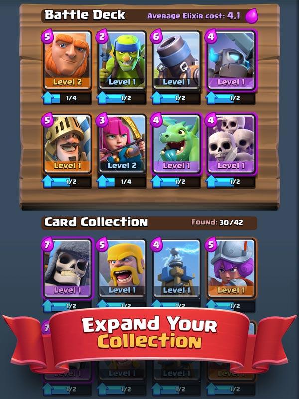 Screenshot eines Kartendecks von Clash Royale
