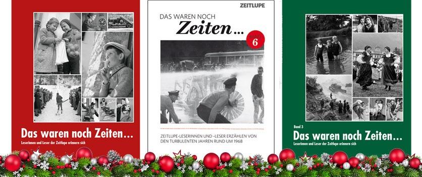 Collage aus drei Buchcovern «Das waren noch Zeiten» und Tannengrün mit Weihnachtsbaumkugeln.