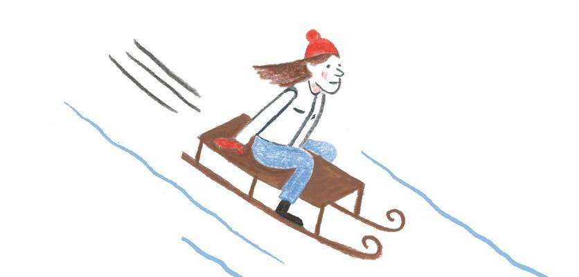 Zeichnung: eine Frau mit roter Mütze auf einem Schlitten.