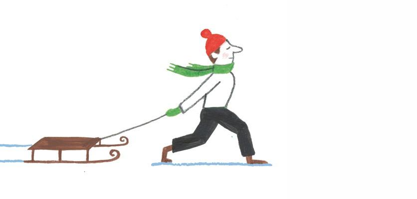 Zeichnung: ein Mann mit roter Mütze zieht einen Schlitten.
