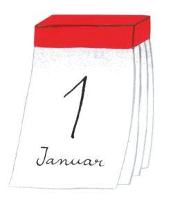 Zeichnung: ein Abreisskalender mit dem Datum 1. Januar.
