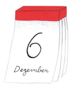 Zeichnung: ein Abreisskalender mit dem Datum 6. Dezember.