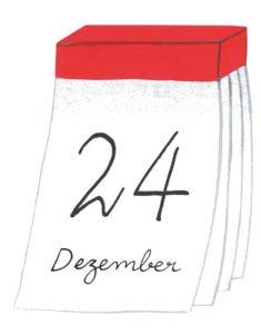 Zeichnung: ein Abreisskalender mit dem Datum 24. Dezember.