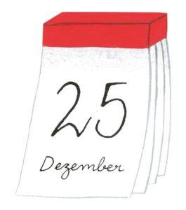 Zeichnung: ein Abreisskalender mit dem Datum 25. Dezember.