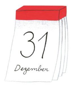 Zeichnung: ein Abreisskalender mit dem Datum 31. Dezember.