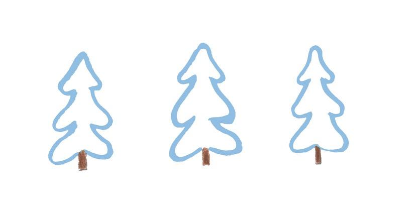 Zeichnung: drei schneebedeckte Tannen.