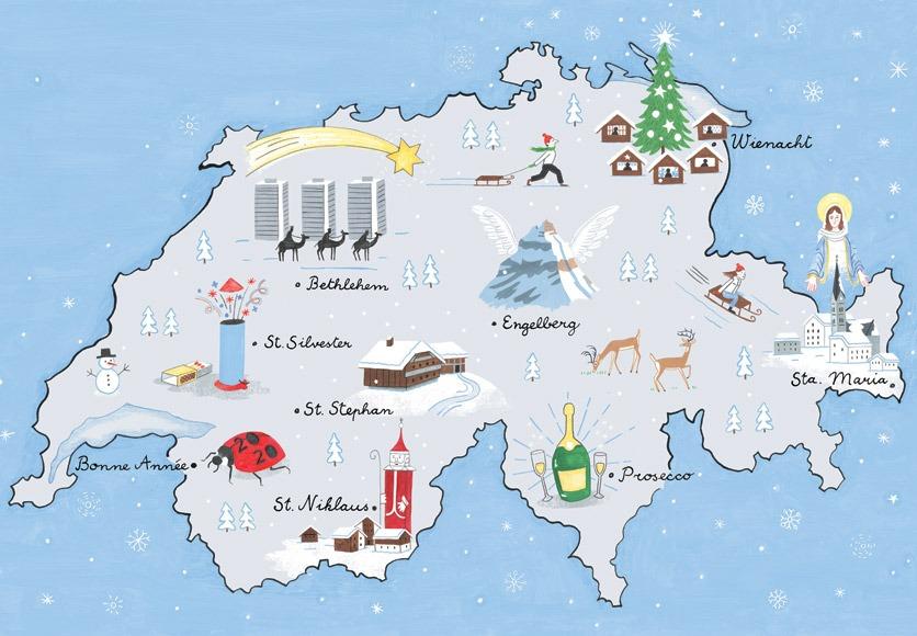 Weihnachtliche Zeichnung einer Schweizerkarte mit verschiedenen Ortsnamen, die mit Weihnachten in Verbindung stehen, ausgeschmückt mit liebevollen gezeichneten Details, wie z.B. einen Berg mit Flügeln für Engelberg.