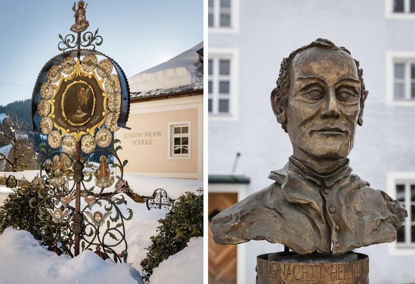 Joseph Mohr Grab in Wagrain und eine Büste in Mariapfarr