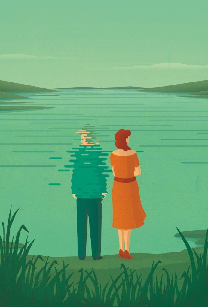 Illustration eines Paares am See. Der Mann löst sich in der Wasseroberfläche auf.