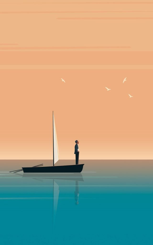 Illustration eines Mannes auf einem Segelboot,, der zuversichtlich in die Zukunft blickt.