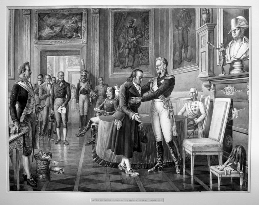 Das legendäre Treffen in Basel: Zar Alexander I. empfängt den Schweizer Pädagogen Johann Heinrich Pestalozzi. Hier in der Darstellung von Karl Jauslin.