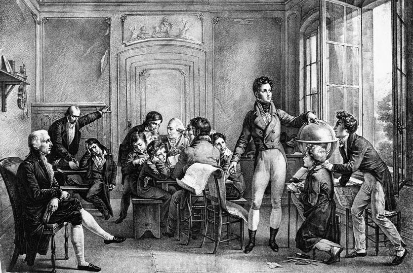 Der französische Herzog von Orléans (stehend) im Bündnerland: Unter dem Decknamen «Monsieur Chabos» unterrichtet Louis-Philippe in der Internatsschule auf Schloss Reichenau.