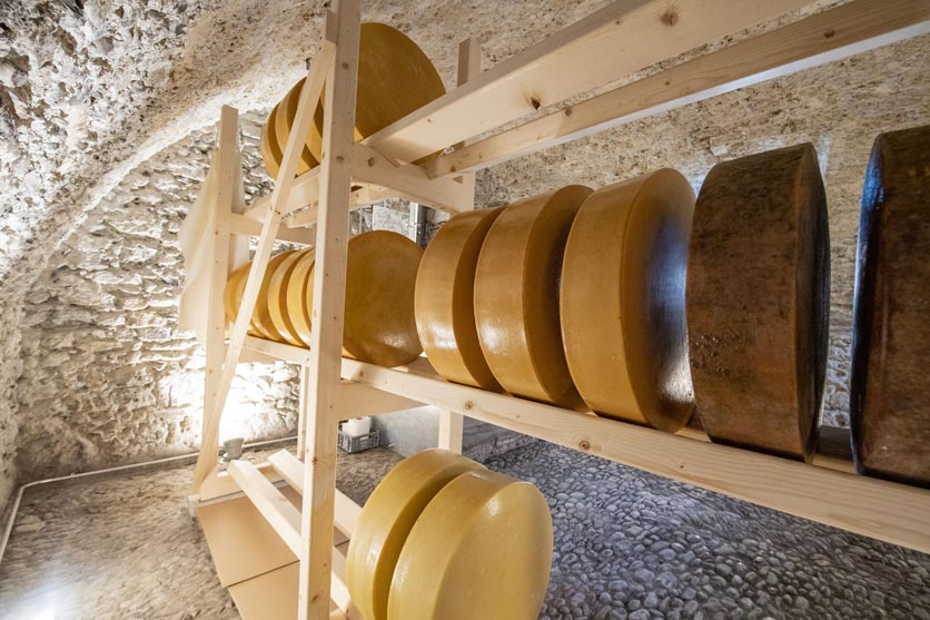 Käselaibe im Klosterkeller des Culinarium Alpinum im ehemaligen Kapuzinerkloster von Stans