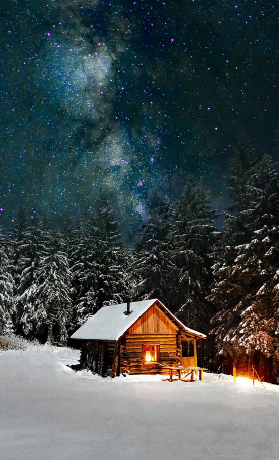 Winterwald mit Sternenhimmel und Hütte.