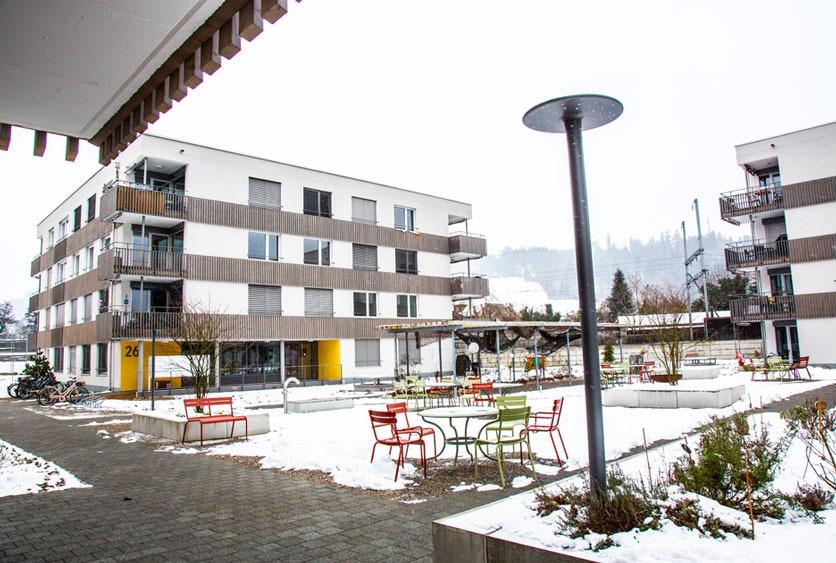 Aussenaufnahme der GeWo Burgdorf im Winter