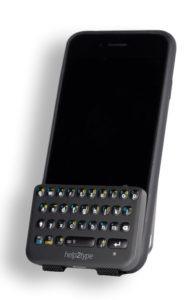 Mobile Tastatur für Sehbehinderte. Zeitlupe.