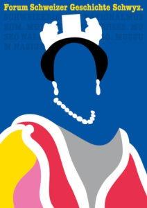 Ausstellungsplakat mit Illustration: bunte Silhouette einer Königin ohne Gesicht vor dunkelblauem Hintergrund. Zeitlupe.