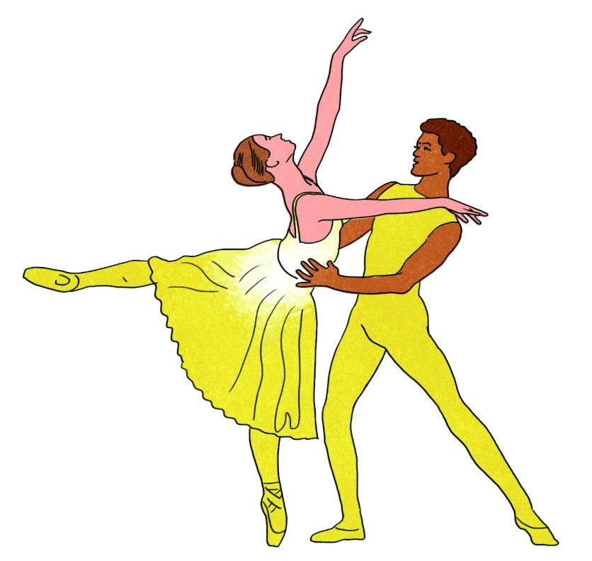 Illustration: ein Ballettpaar in einer typischen Pose. Gelb gekleidet. Zeitlupe.