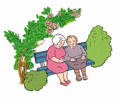 Illustration: eine Gartenbank mit zwei Seniorinnen. Zeitlupe.