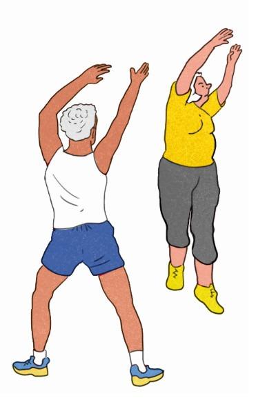 Illustration: eine Seniorin und ein Senior turnen. Zeitlupe