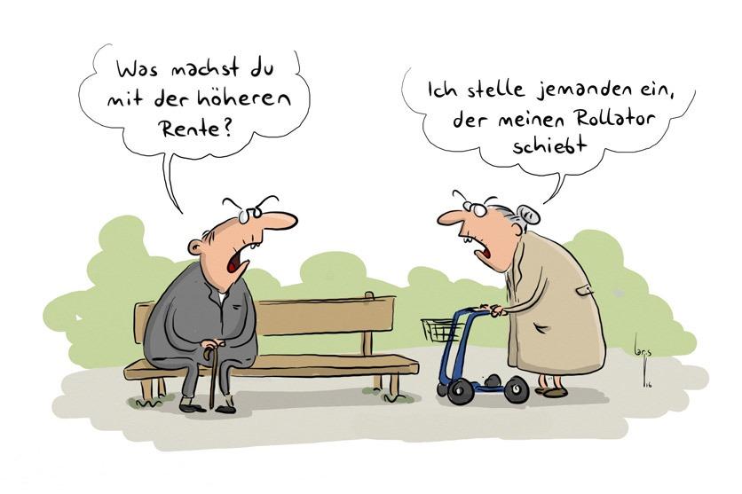 """Cartoon: Ein Senior sitzt auf einer Bank. Eine Seniorin mit Rollator kommt vorbei. Er fragt """"Was macht Du mit der höheren Rente?"""" Sie antwortet: """"Ich stelle jemanden ein, der meinen Rollator schiebt""""."""