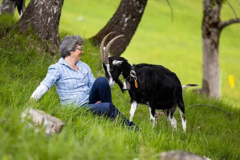 Geissenzüchterin Marianne Egli in Grüsch mit ihren Geissen. Sie sitzt auf der Wiese und spielt mit ihnen. Eine Geiss neigt den Kopf zu ihr herunter.
