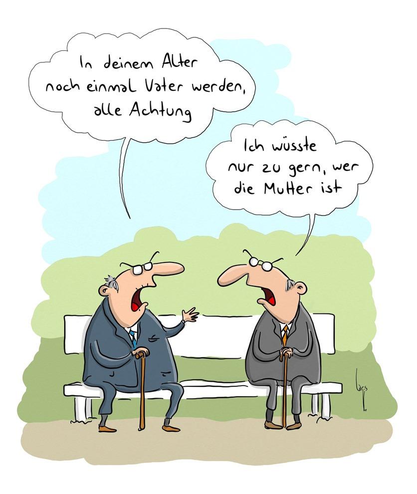"""Cartoon: Zwei Senioren sitzen auf einer Bank. Sagt einer """"In deinem Alter noch einmal Vater werden, alle Achtung"""". Antwortet der andere """"Ich wüsste nur zu gern, wer die Mutter ist""""."""