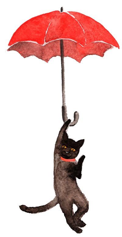 Schwarze Katze an rotem Regenschirm, Aquarell. Zeitlupe.