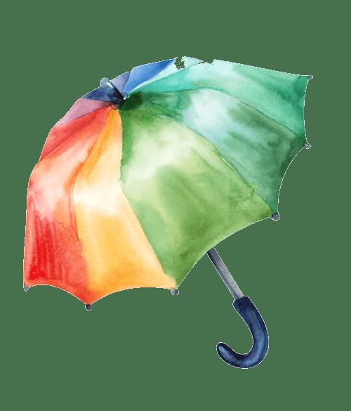 bunter Regenschirm, handgemalt